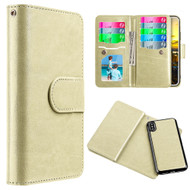 *Sale* Luxury Timberland Series Double Flop Leather Wallet with Removable Magnetic Case for iPhone X - Gold