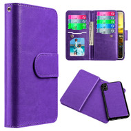 Luxury Timberland Series Double Flop Leather Wallet with Removable Magnetic Case for iPhone X - Purple