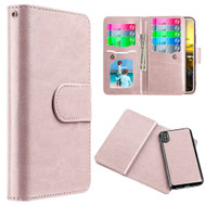 Luxury Timberland Series Double Flop Leather Wallet with Removable Magnetic Case for iPhone X - Rose Gold