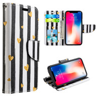 Designer Graphic Leather Wallet Stand Case for iPhone X - Chic Hearts