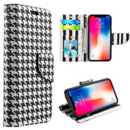 Designer Graphic Leather Wallet Stand Case for iPhone X - Houndstooth