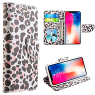 Designer Graphic Leather Wallet Stand Case for iPhone X - Lady Leopard