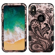 Military Grade Certified TUFF Image Hybrid Armor Case for iPhone X - Phoenix Flower Rose Gold