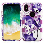 Military Grade Certified TUFF Image Hybrid Armor Case for iPhone X - Purple Hibiscus Flower Romance
