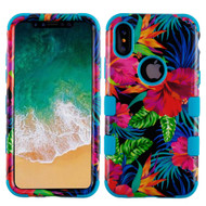 Military Grade Certified TUFF Image Hybrid Armor Case for iPhone X - Electric Hibiscus
