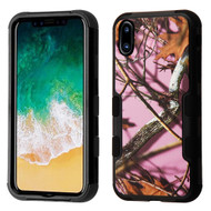 Military Grade Certified TUFF Image Hybrid Armor Case for iPhone X - Pink Oak Hunting Camouflage
