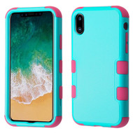 *Sale* Military Grade Certified TUFF Hybrid Armor Case for iPhone X - Teal Green Hot Pink