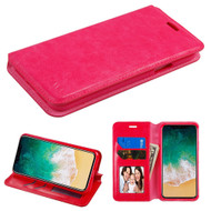 Book-Style Leather Folio Case for iPhone X - Hot Pink