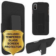 Kickstand Protective Case with Holster and Tempered Glass Screen Protector for iPhone X - Black