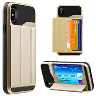 *Sale* Roll Up Card Wallet Hybrid Kickstand Case for iPhone X - Gold