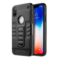 Transformer Rugged Hybrid Armor Case with Stand for iPhone X - Black