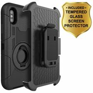 Anti-Shock Hybrid Case with Holster and Tempered Glass Screen Protector for iPhone X - Black