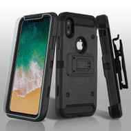3-IN-1 Kinetic Hybrid Armor Case with Holster and Tempered Glass Screen Protector for iPhone X - Black