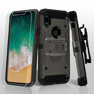3-IN-1 Kinetic Hybrid Armor Case with Holster and Tempered Glass Screen Protector for iPhone X - Dark Grey