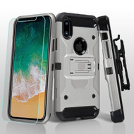 3-IN-1 Kinetic Hybrid Armor Case with Holster and Tempered Glass Screen Protector for iPhone X - Silver