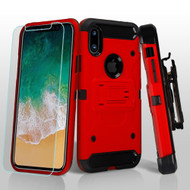 3-IN-1 Kinetic Hybrid Armor Case with Holster and Tempered Glass Screen Protector for iPhone X - Red