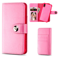 2-IN-1 Premium Leather Wallet with Removable Magnetic Case for iPhone X - Hot Pink