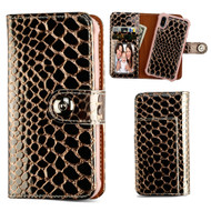 2-IN-1 Premium Leather Wallet with Removable Magnetic Case for iPhone X - Crocodile