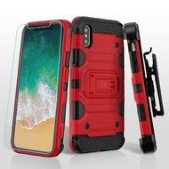*SALE* Military Grade Certified Storm Tank Hybrid Case + Holster + Tempered Glass Screen Protector for iPhone X - Red