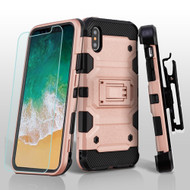 Military Grade Certified Storm Tank Hybrid Case + Holster + Tempered Glass Screen Protector for iPhone X - Rose Gold