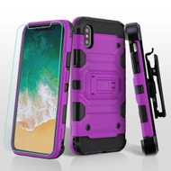Military Grade Certified Storm Tank Hybrid Case with Holster and Tempered Glass Screen Protector for iPhone X - Purple