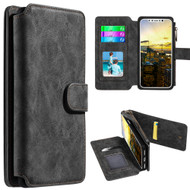 Luxury Coach Series Leather Wallet with Removable Magnetic Case for iPhone X - Black