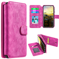Luxury Coach Series Leather Wallet with Removable Magnetic Case for iPhone X - Hot Pink