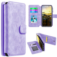 *SALE* Luxury Coach Series Leather Wallet with Removable Magnetic Case for iPhone X - Lavender