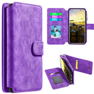 Luxury Coach Series Leather Wallet with Removable Magnetic Case for iPhone X - Purple