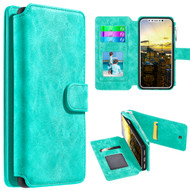 *SALE* Luxury Coach Series Leather Wallet with Removable Magnetic Case for iPhone X - Teal