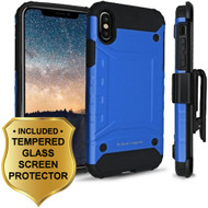 *Sale* Eclipse Legend Anti Shock Hybrid Armor Case and Holster and Tempered Glass Screen Protector for iPhone X - Blue