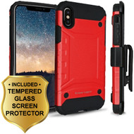 Eclipse Legend Anti Shock Hybrid Armor Case and Holster and Tempered Glass Screen Protector for iPhone X - Red