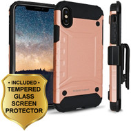 Eclipse Legend Anti Shock Hybrid Armor Case and Holster and Tempered Glass Screen Protector for iPhone X - Rose Gold