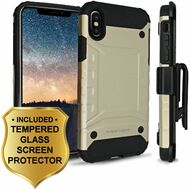 *Sale* Eclipse Legend Anti Shock Hybrid Armor Case and Holster and Tempered Glass Screen Protector for iPhone X - Gold