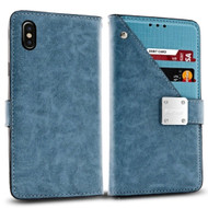 Cosmopolitan Leather Canvas Wallet Case for iPhone X - Blue