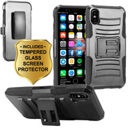 *Sale* Advanced Armor Hybrid Kickstand Case with Holster and Tempered Glass Screen Protector for iPhone X - Black