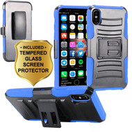 *Sale* Advanced Armor Hybrid Kickstand Case with Holster and Tempered Glass Screen Protector for iPhone X - Blue
