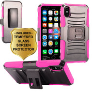 Advanced Armor Hybrid Kickstand Case with Holster and Tempered Glass Screen Protector for iPhone X - Hot Pink