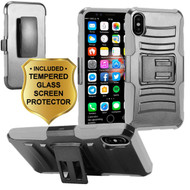 Advanced Armor Hybrid Kickstand Case with Holster and Tempered Glass Screen Protector for iPhone X - Grey