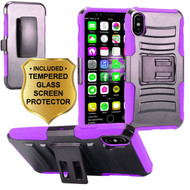 Advanced Armor Hybrid Kickstand Case with Holster and Tempered Glass Screen Protector for iPhone X - Purple