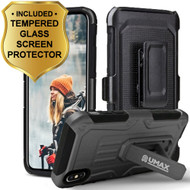 Heavy Duty Dual Layer Hybrid Armor Case with Holster and Tempered Glass Screen Protector for iPhone X - Black