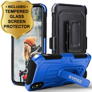 Heavy Duty Dual Layer Hybrid Armor Case with Holster and Tempered Glass Screen Protector for iPhone X - Blue
