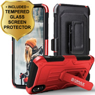 Heavy Duty Dual Layer Hybrid Armor Case with Holster and Tempered Glass Screen Protector for iPhone X - Red