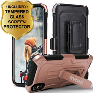 Heavy Duty Dual Layer Hybrid Armor Case with Holster and Tempered Glass Screen Protector for iPhone X - Rose Gold
