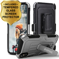 Heavy Duty Dual Layer Hybrid Armor Case with Holster and Tempered Glass Screen Protector for iPhone X - Silver