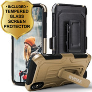 *Sale* Heavy Duty Dual Layer Hybrid Armor Case with Holster and Tempered Glass Screen Protector for iPhone X - Gold