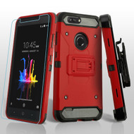 3-IN-1 Kinetic Hybrid Armor Case with Holster and Tempered Glass Screen Protector for ZTE Blade Z Max - Red
