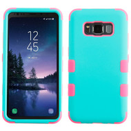 Military Grade Certified TUFF Hybrid Armor Case for Samsung Galaxy S8 Active - Teal Green Hot Pink