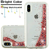 Diamond Quicksand Glitter Transparent Case for iPhone X - Rose Gold