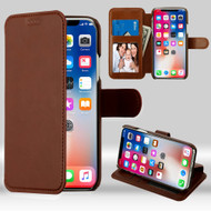 NeoUrban Leather Folio Wallet Case for iPhone X - Brown